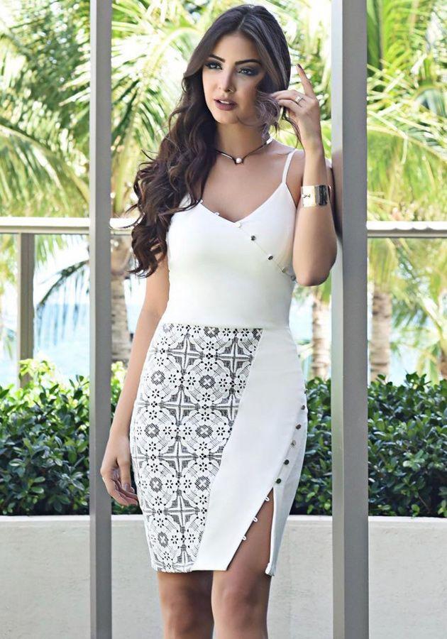 Vestido Liv Botões Branco