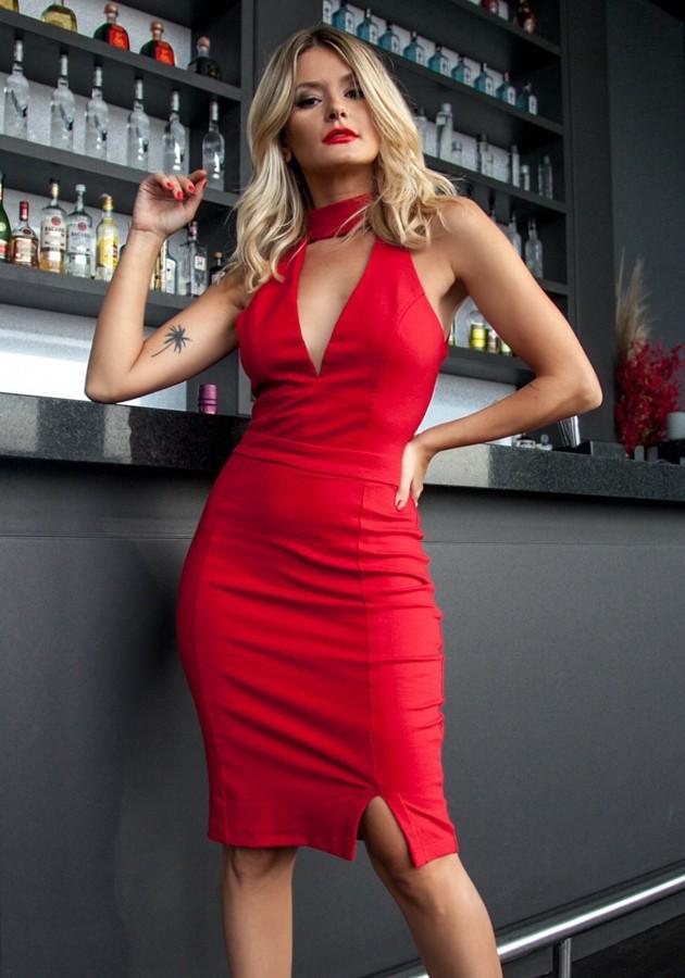 Vestido Liv Fenda Vermelho