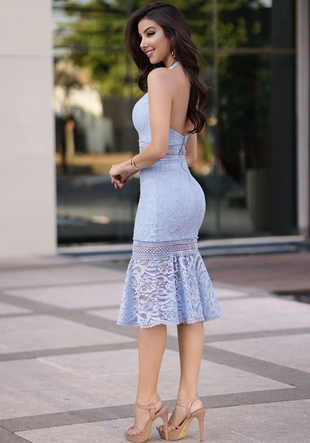 Vestido Liv Renda Azul Claro