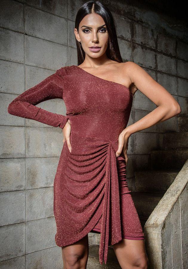 Vestido Lívia Lurex Vinho