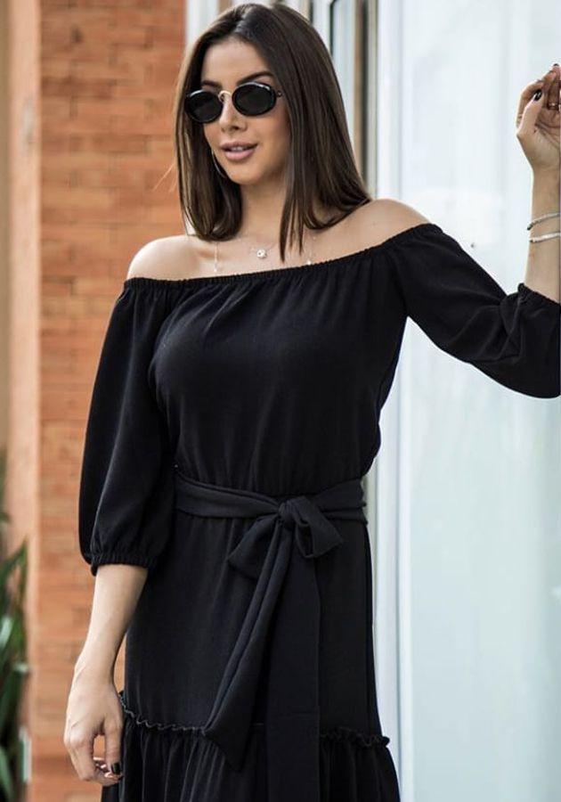 Vestido Longo Sabrina Preto