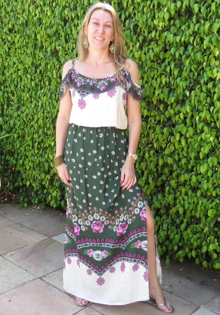 Vestido Longo Verde Flores