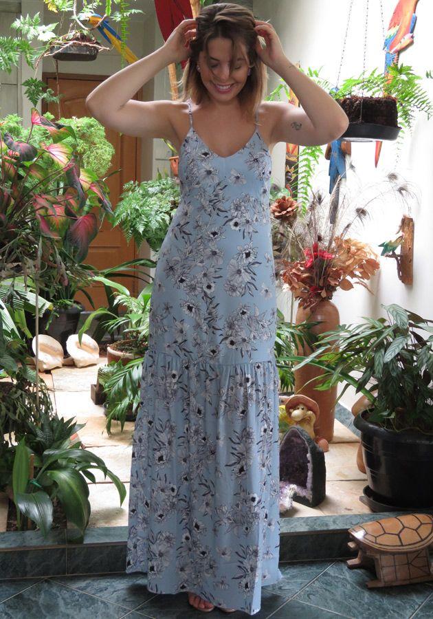 Vestido Mamô Longo Estampa Lenço Azul