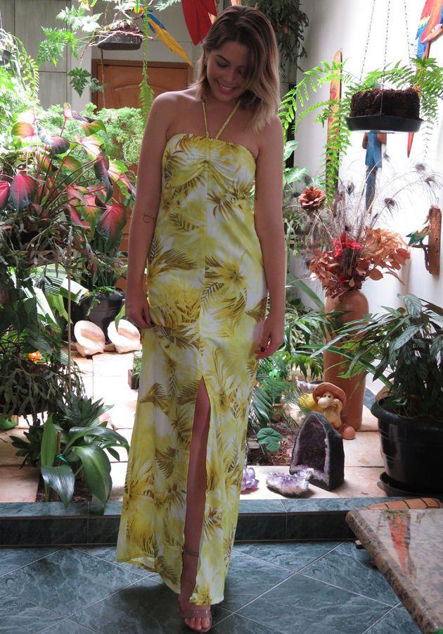 Vestido Mamô Longo Resort Folhas Amarelo