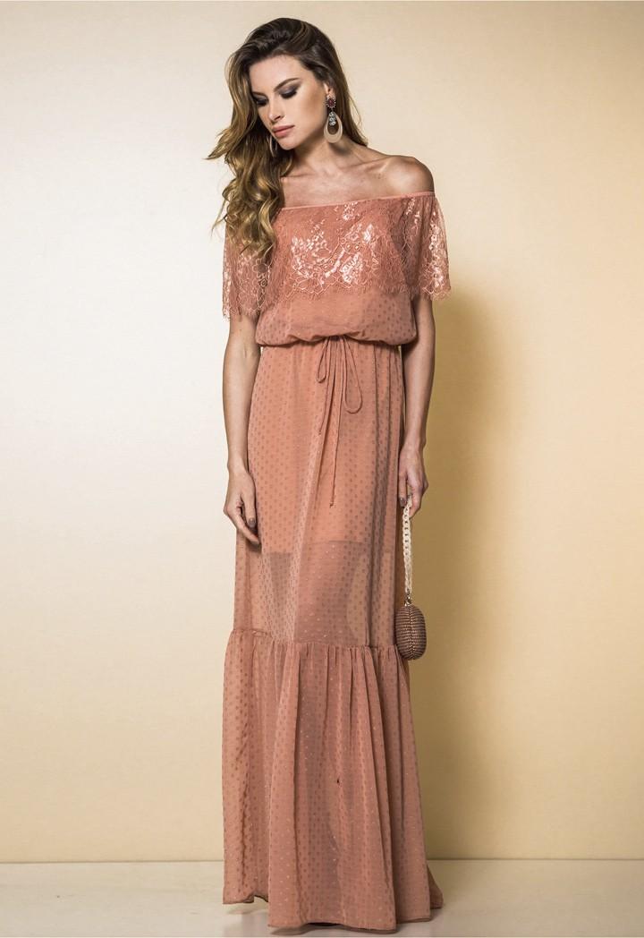 Vestido Garnús Poa Off Shoulder Rosa Retrô
