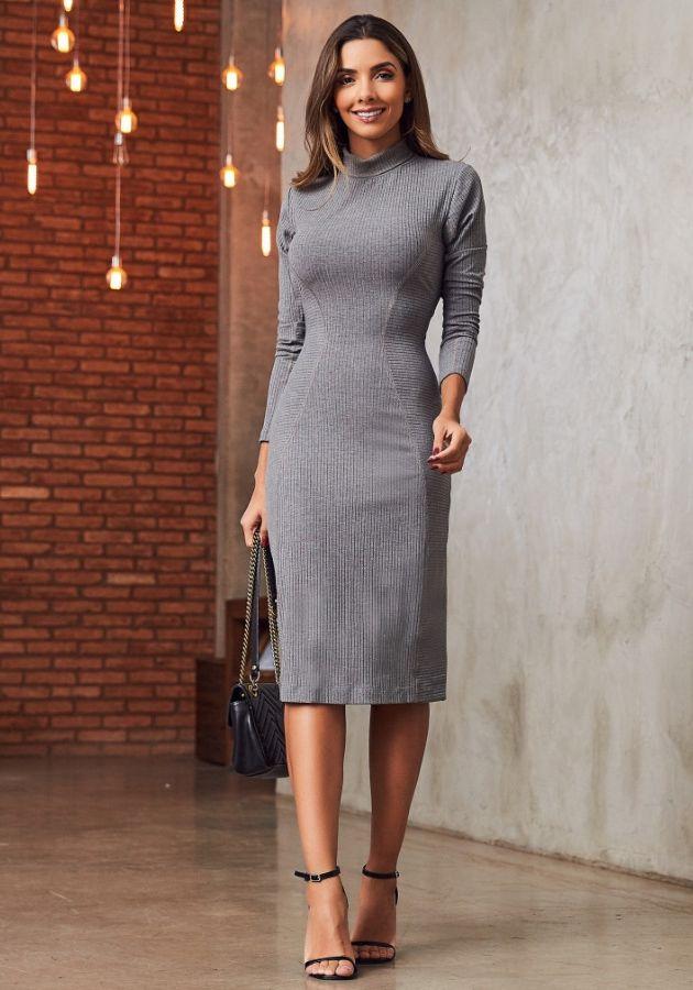 Vestido Rosely Cinza