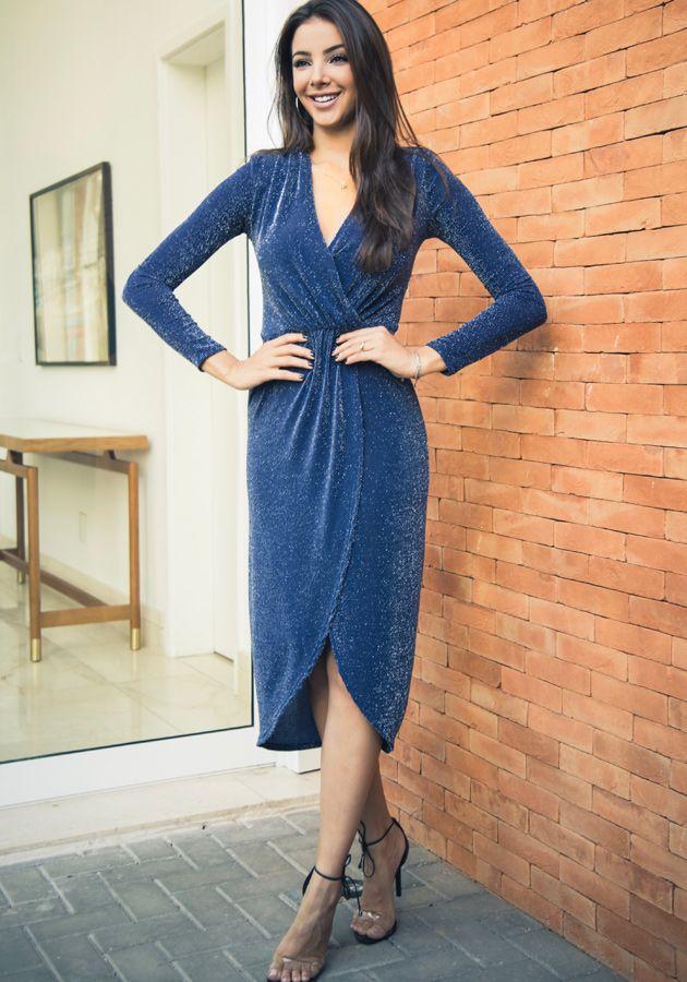 Vestido Vanda Lurex Azul