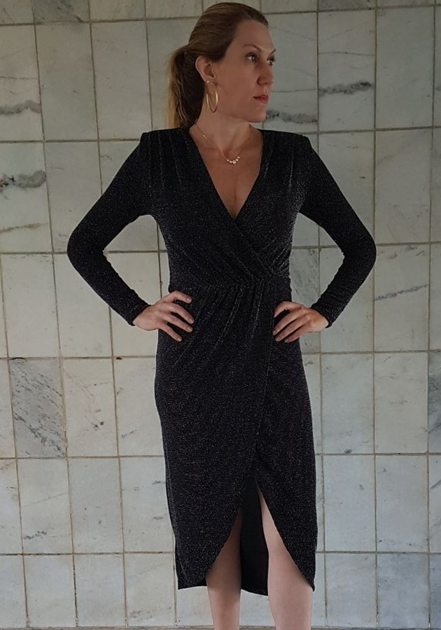 Vestido Vanda Lurex Preto