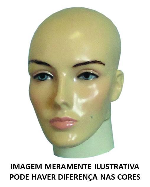 Cabeça Feminina Careca c/ Maquiagem Bege