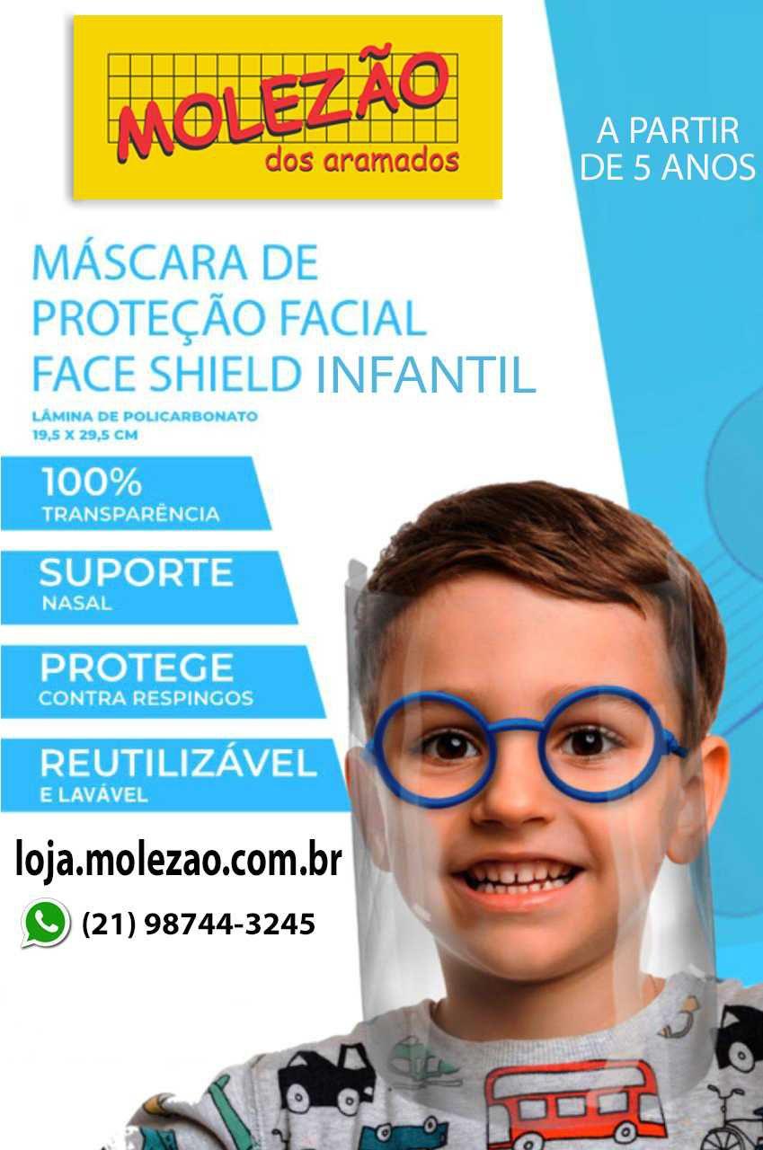 Máscara de proteção facial infantil  azul  (kit 10 uni)