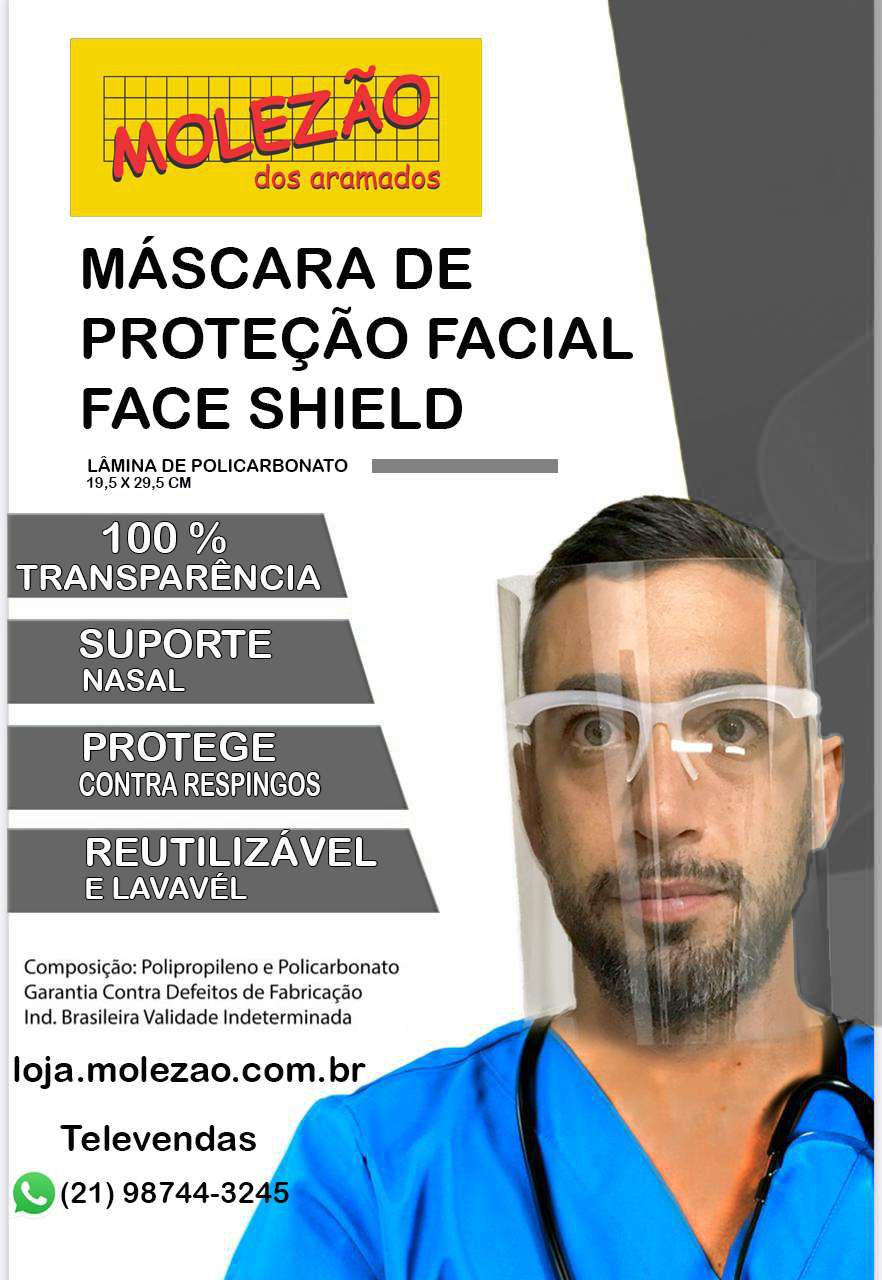 Máscara de proteção facial (Kit 10 uni)