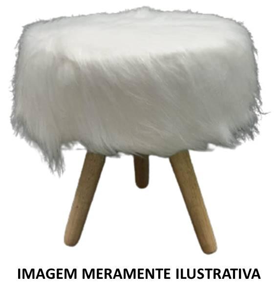 Puff Redondo Pelego Branco c/ Pé de Madeira