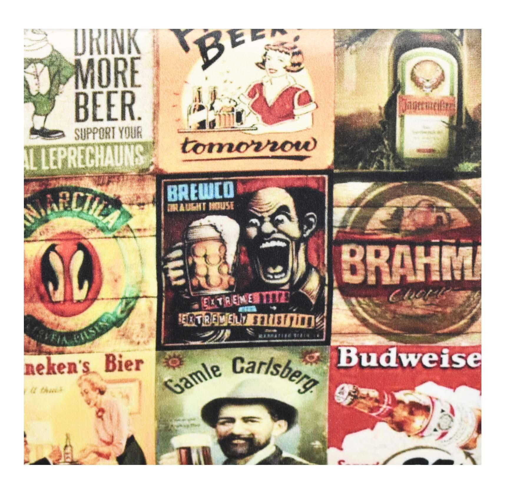 Puff Retrô Quadrado Cerveja