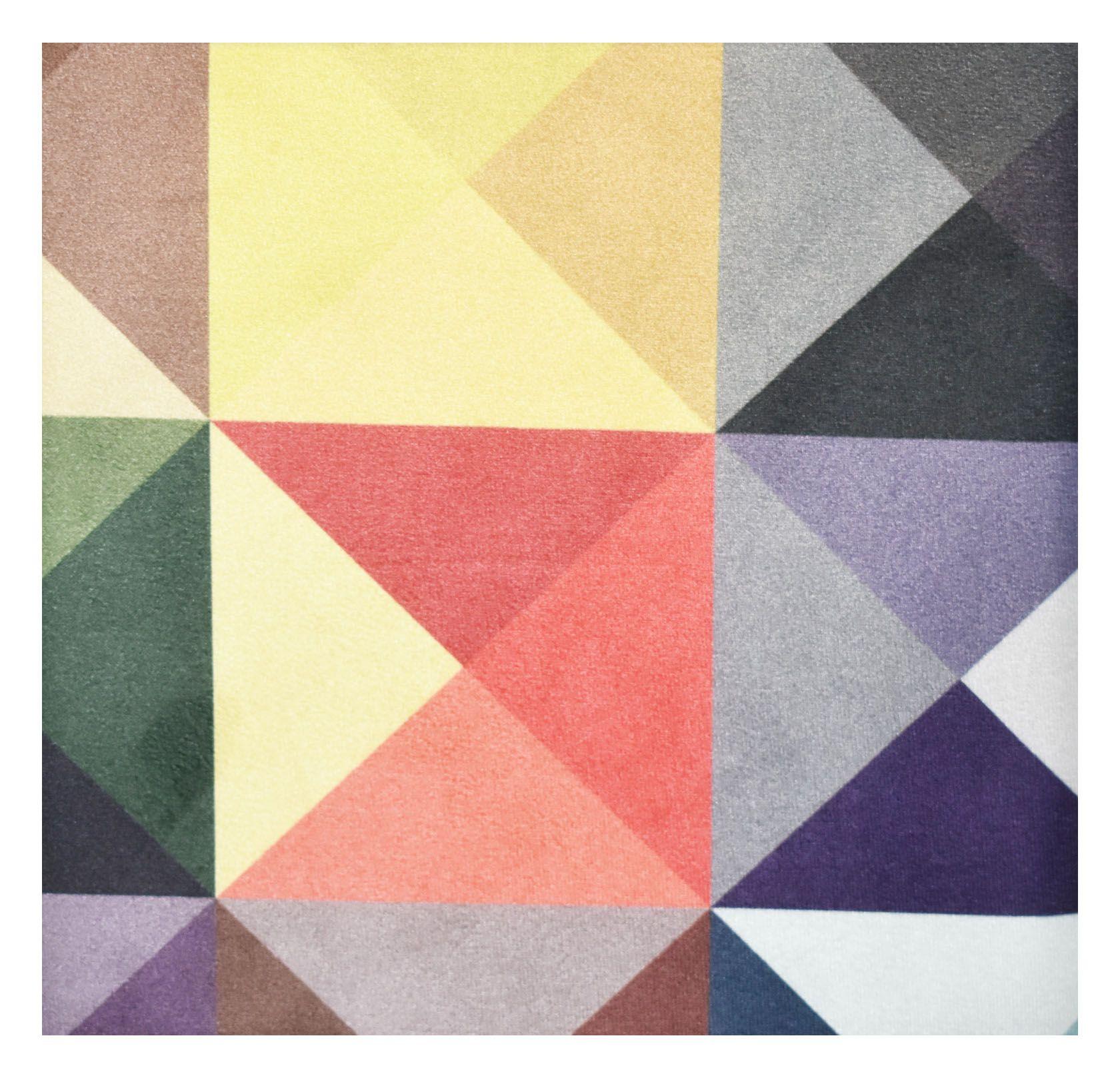 Puff Retrô Quadrado Triangulo Colorido