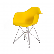 Cadeira Eiffel Com Braço Base Cromada Cor Amarela