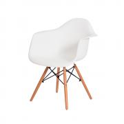 Cadeira Charles Eames Eiffel Com Braço Branca Base Madeira