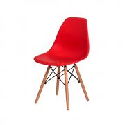 Cadeira Charles Eames Eiffel Vermelha Base Madeira