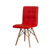 Cadeira Charles Eames Gomos Vermelha Base Madeira