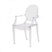 Cadeira Louis Ghost Com Braço Transparente