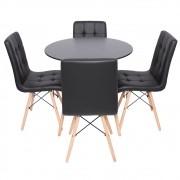 Conjunto Kit Mesa Redonda Charles Eames Eiffel Preta DSW 120cm E 4 Cadeiras Charles Eames Eiffel Gomos Preta