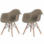 Kit 2 Cadeiras Charles Eames Eiffel Com Braço Nude Base Madeira