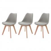 Kit 3 Cadeiras Saarinen Leda Design Cinza