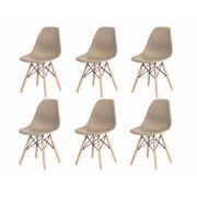 Kit 6 Cadeiras Charles Eames Eiffel Nude Base Madeira