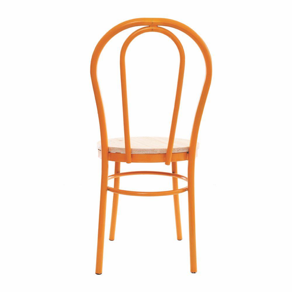 Cadeira Arco Amarela Com Assento De Madeira