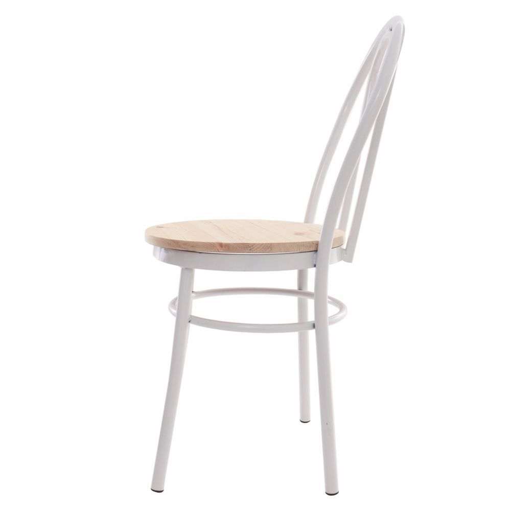 Cadeira Arco Branca Com Assento De Madeira