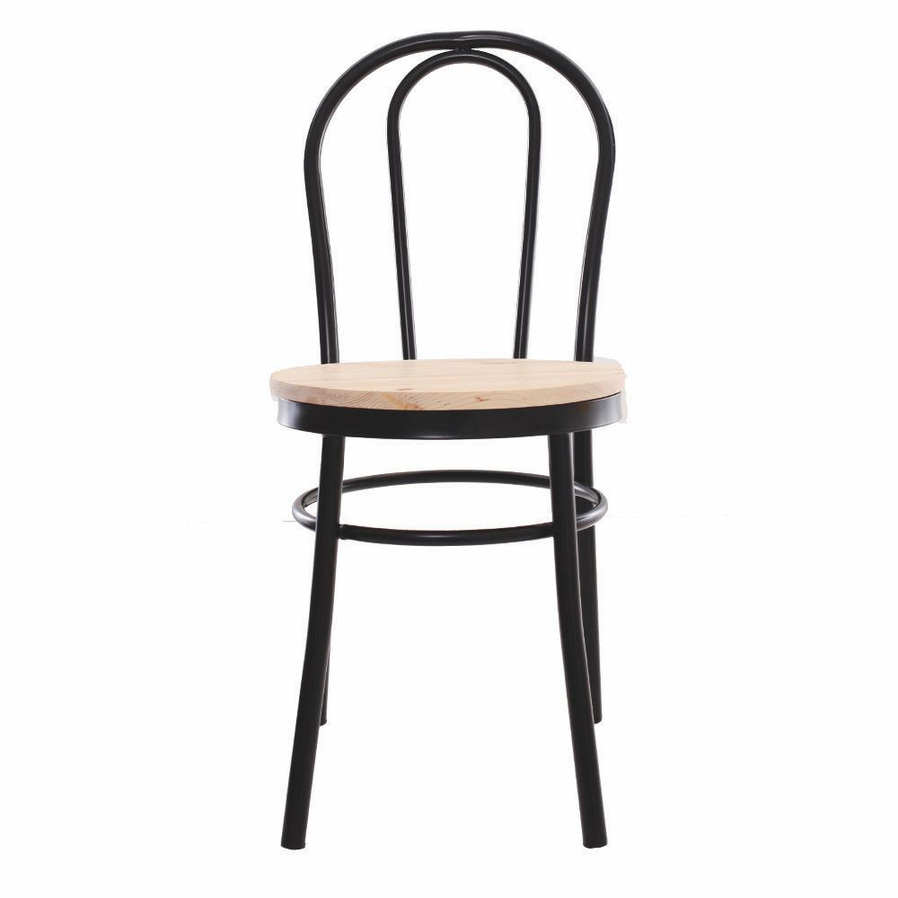 Cadeira Arco Preta Assento De Madeira