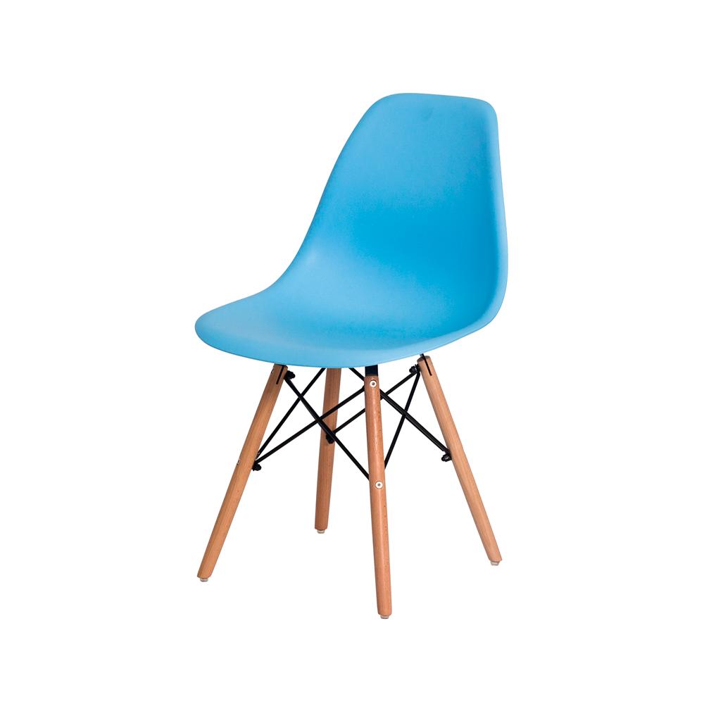 Cadeira Charles Eames Eiffel Azul Claro Base Madeira