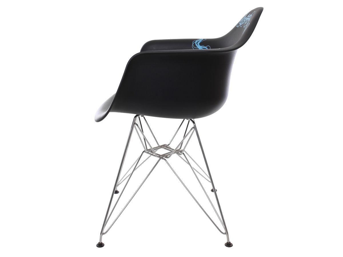 Cadeira Charles Eames Eiffel Com Braço Blue Wave