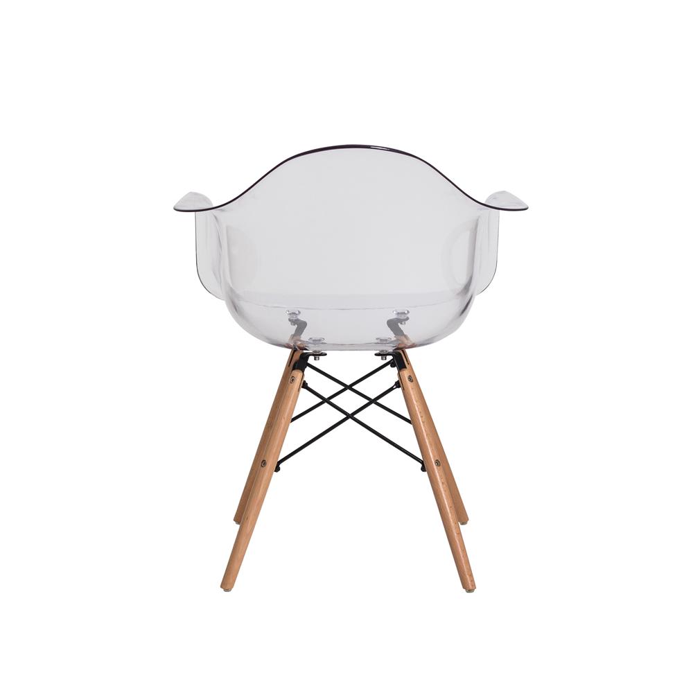 Cadeira Charles Eames Eiffel Com Braço Transparente Base De Madeira
