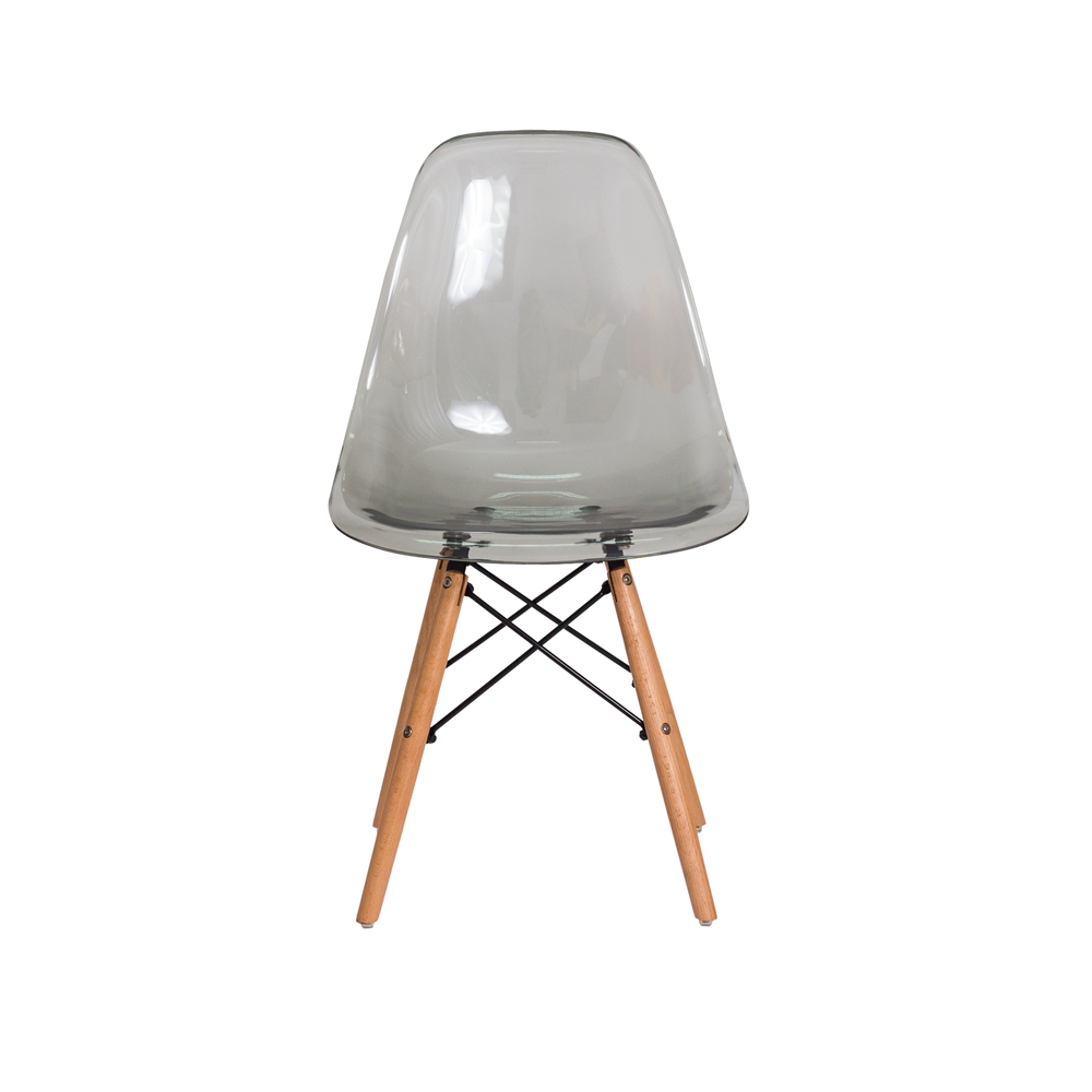 Cadeira Charles Eames Eiffel Preto Translúcido Com Base Madeira