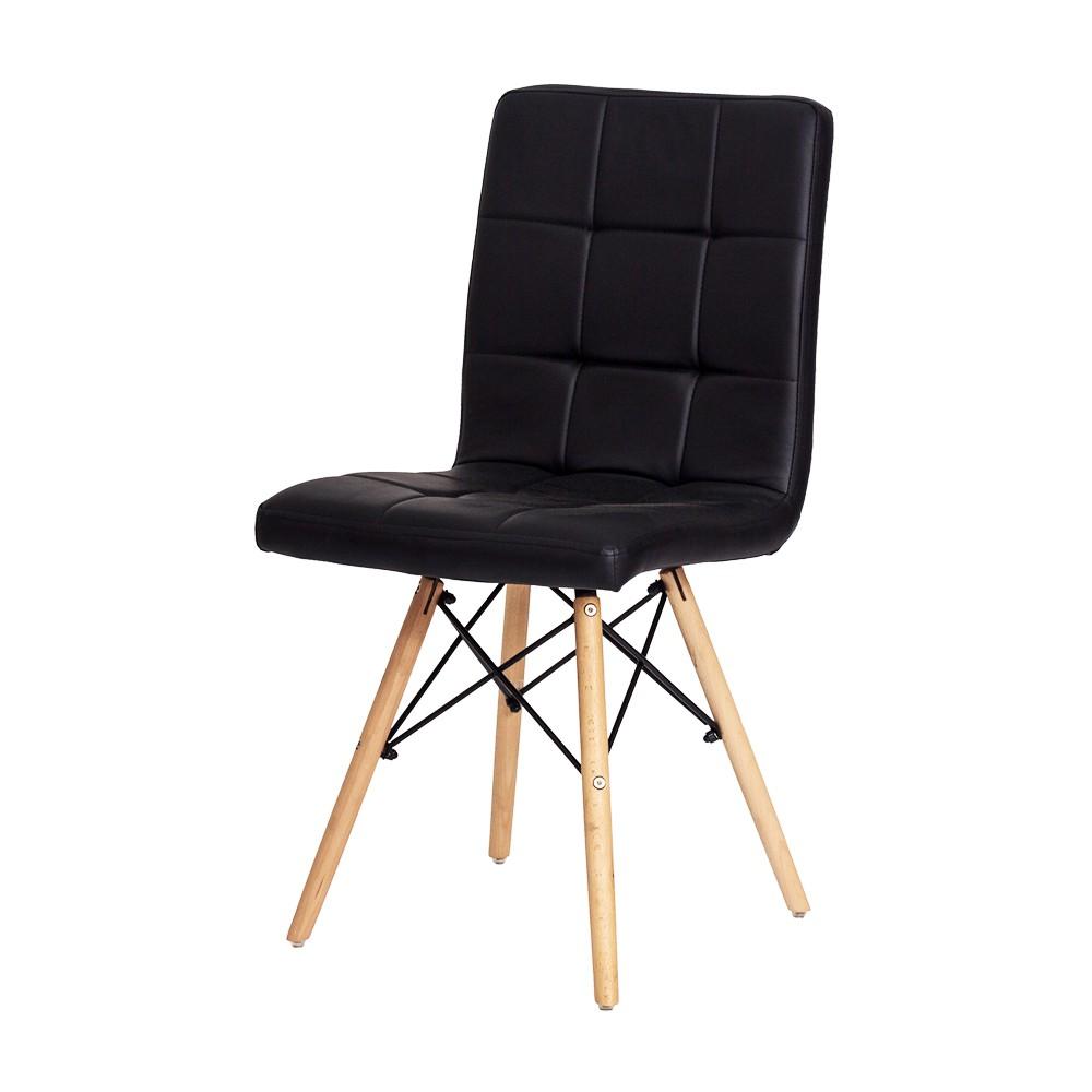 Cadeira Charles Eames Gomos Preta Base Madeira