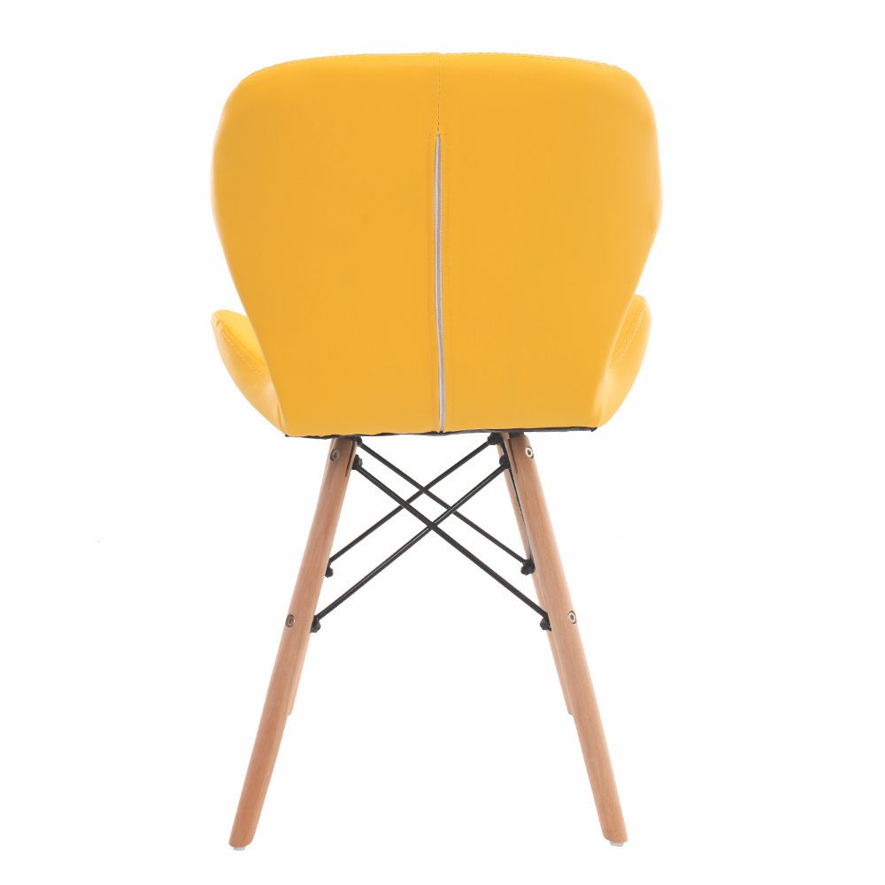 Cadeira Charles Eames Slim Base Madeira Amarela
