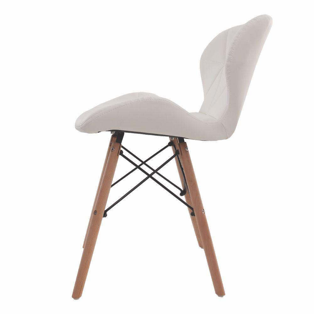 Cadeira Charles Eames Slim Base Madeira Branca
