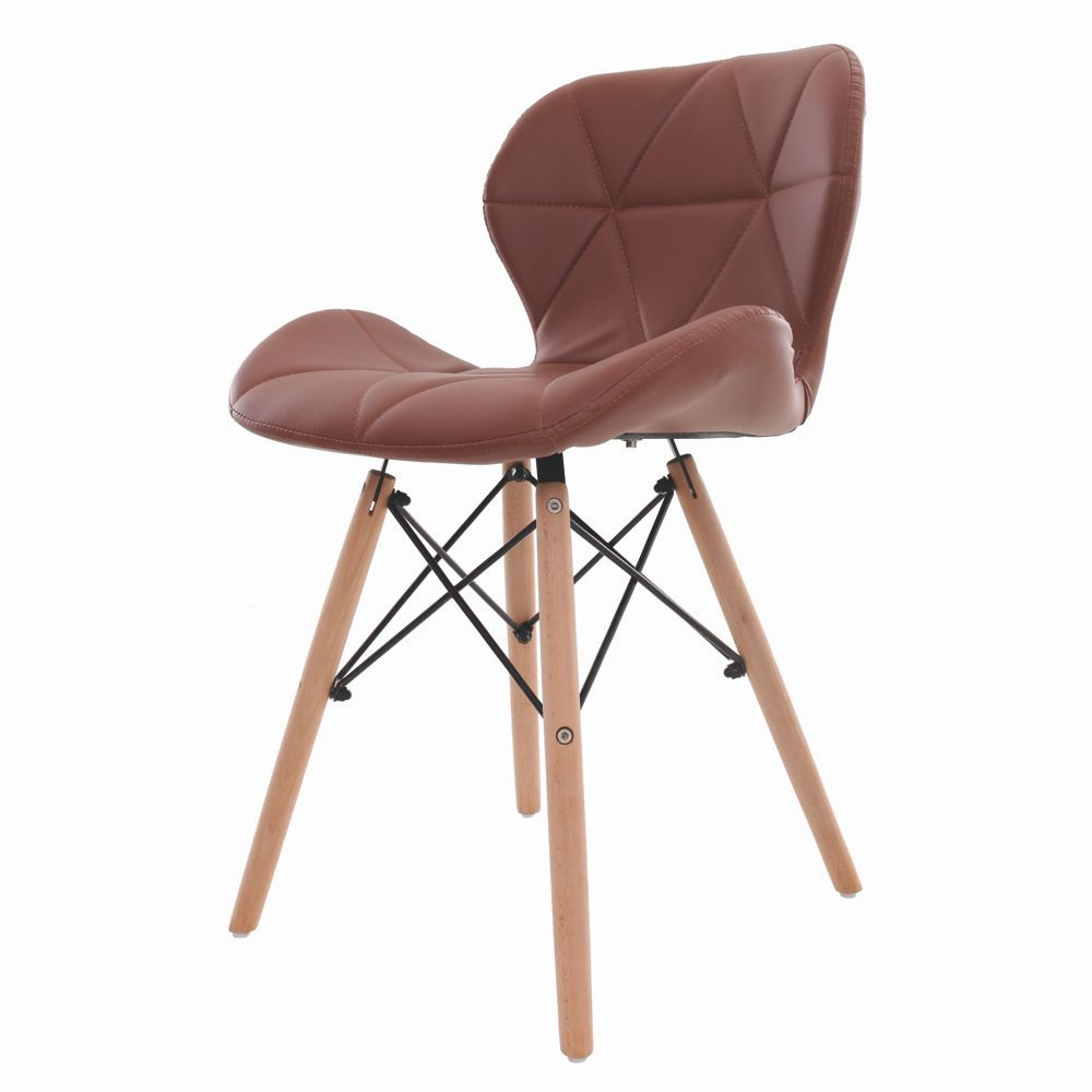 Cadeira Charles Eames Slim Base Madeira Marrom