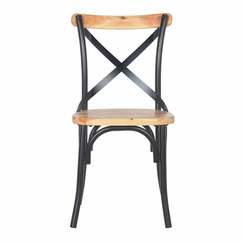 Cadeira Cross Metal Preta Com Assento De Madeira