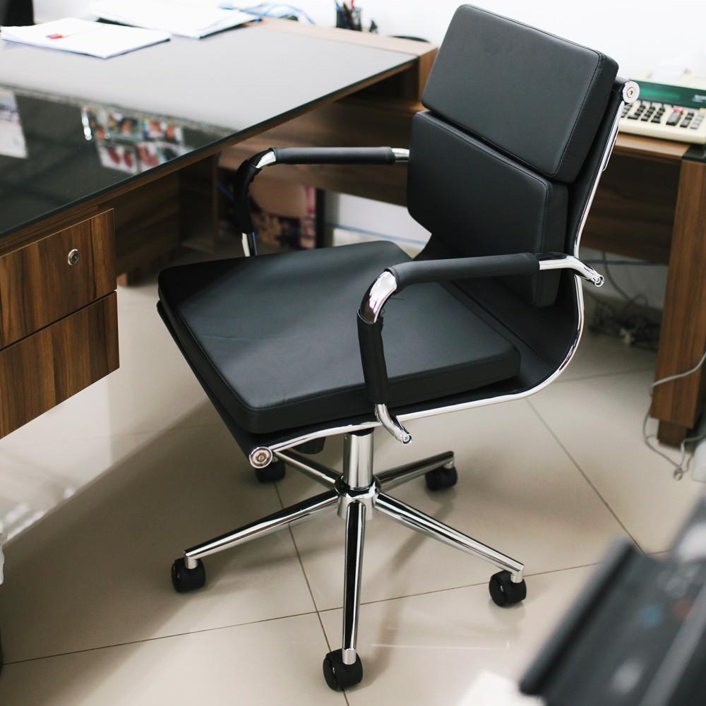 Cadeira De Escritório Diretor Stripes Esteirinha Charles Eames Eiffel Confort Preta