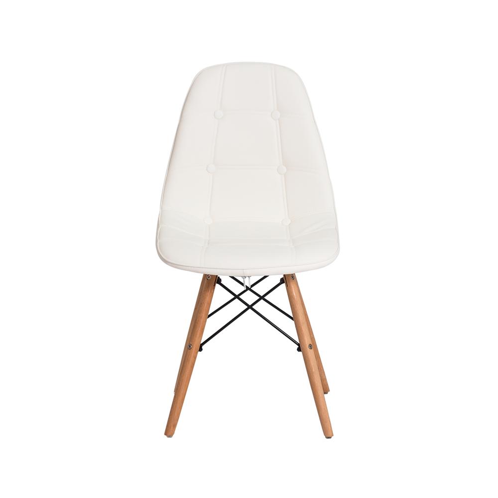 Cadeira Charles Eames Botonê Branca Base Madeira
