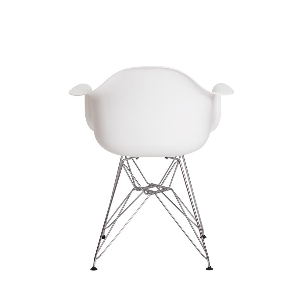 Cadeira Eiffel Com Braço Base Cromada Cor Branca