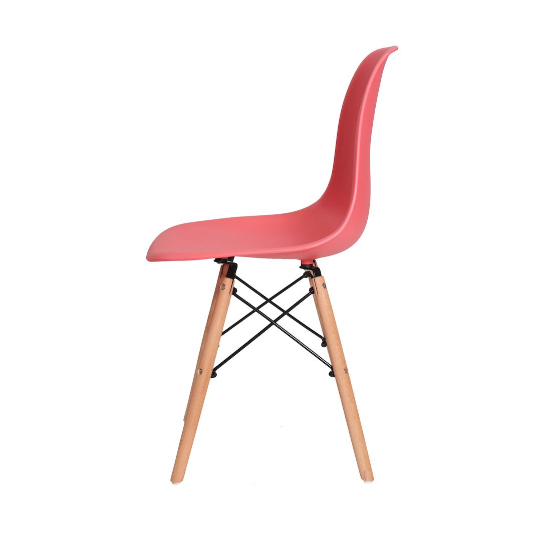 Cadeira Charles Eames Eiffel Coral Base Madeira