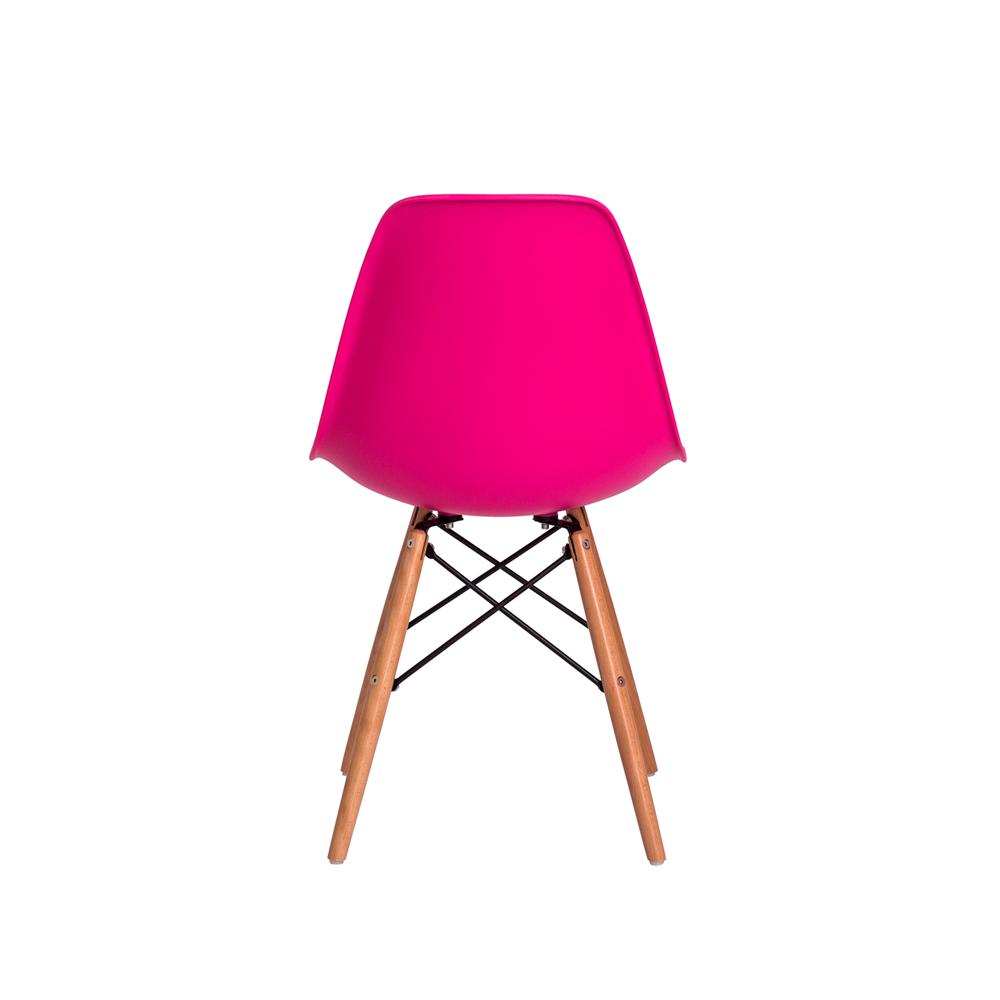 Cadeira Charles Eames Eiffel Pink Base Madeira