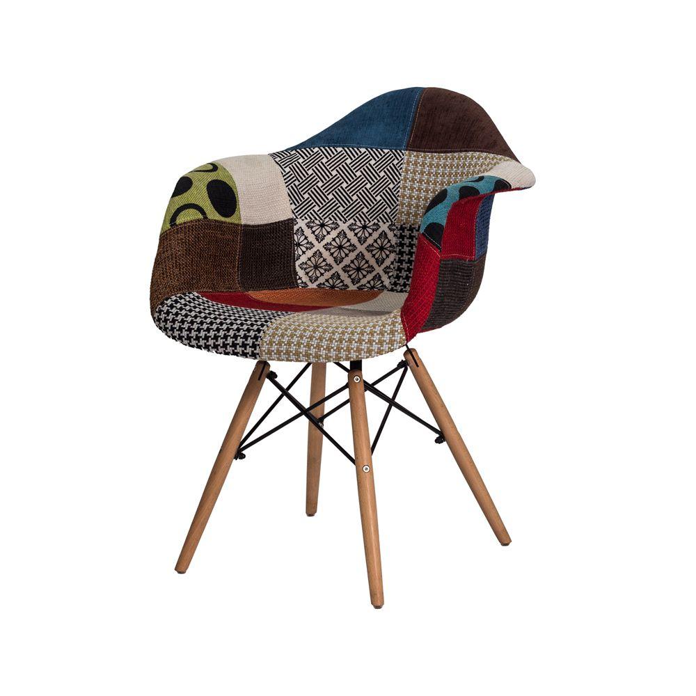 Cadeira Eiffel Patchwork Laranja com Braço