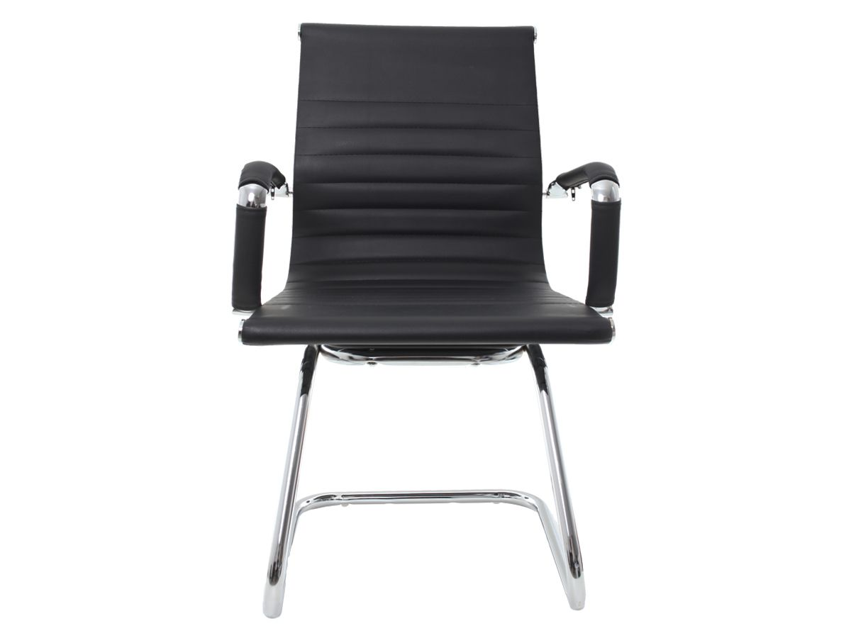 Cadeira Para Escritório Interlocutor Fixa Stripes Esteirinha Preta
