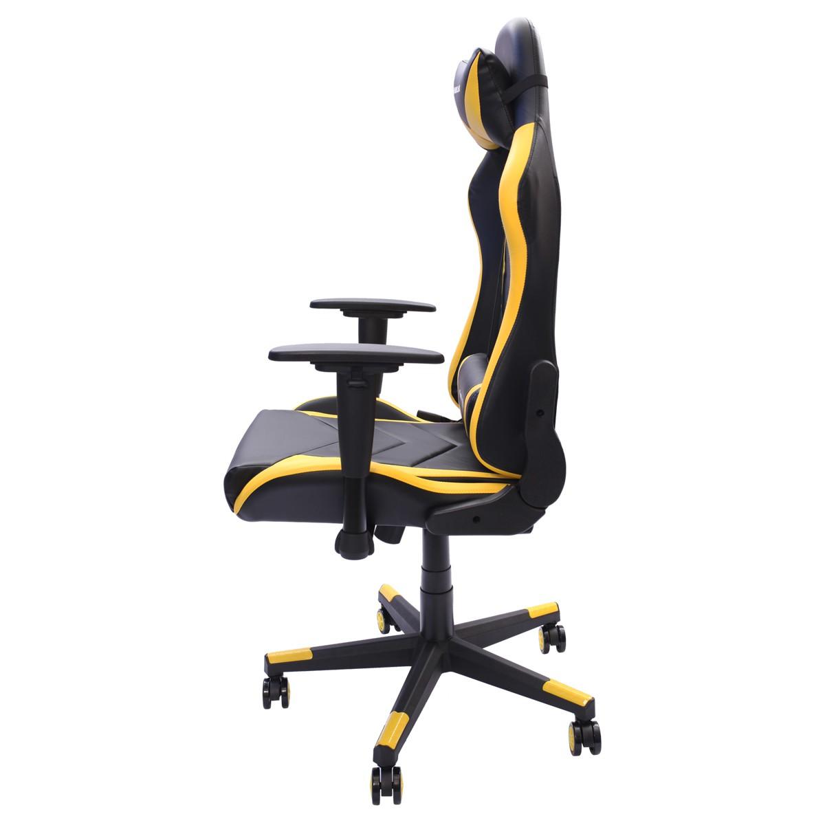 Cadeira Gamer EagleX Pro Giratória com Ajuste de Altura Reclinável e Braços Ajustáveis Amarela