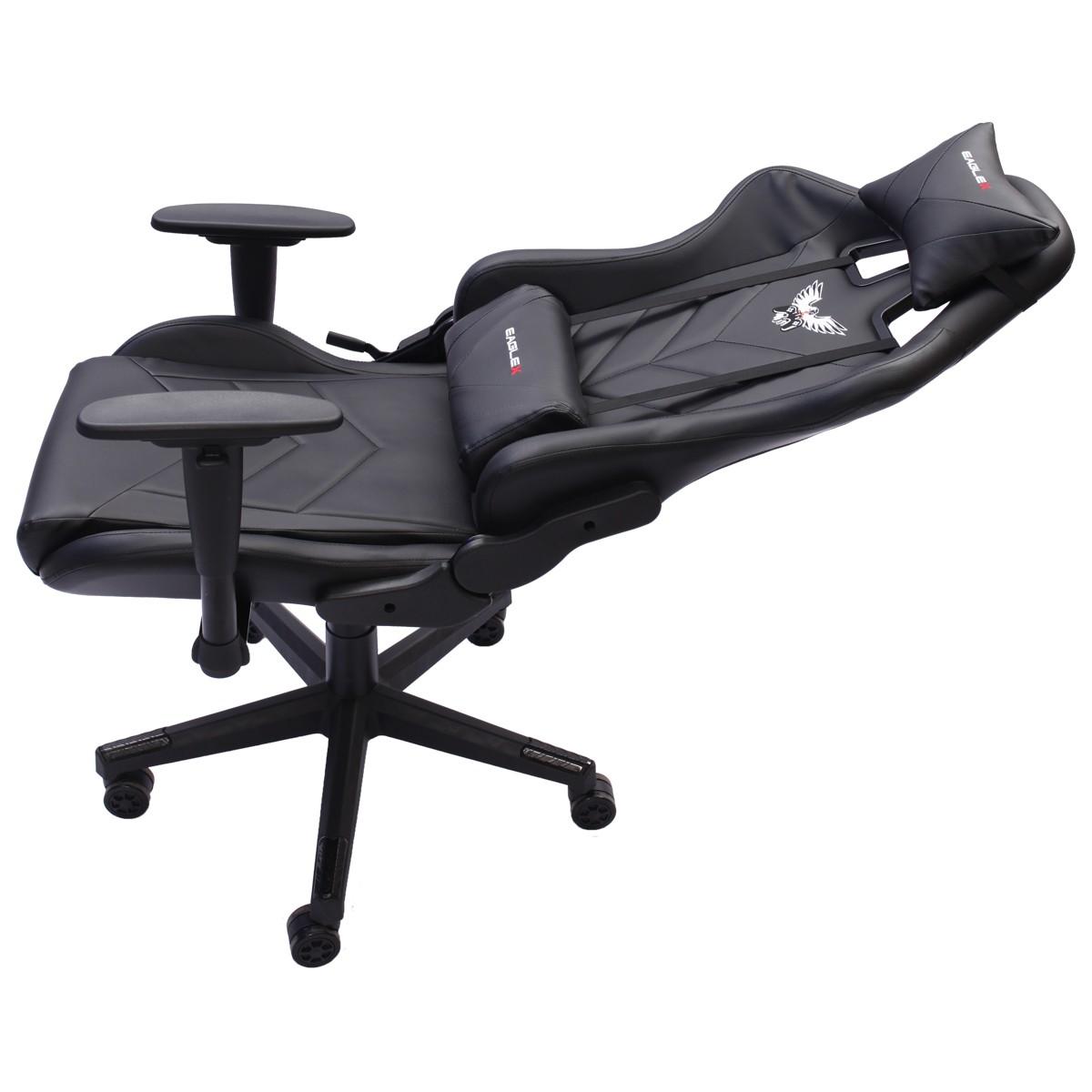 Cadeira Gamer EagleX Pro Giratória com Ajuste de Altura, Reclinável e Braços Ajustáveis Preto