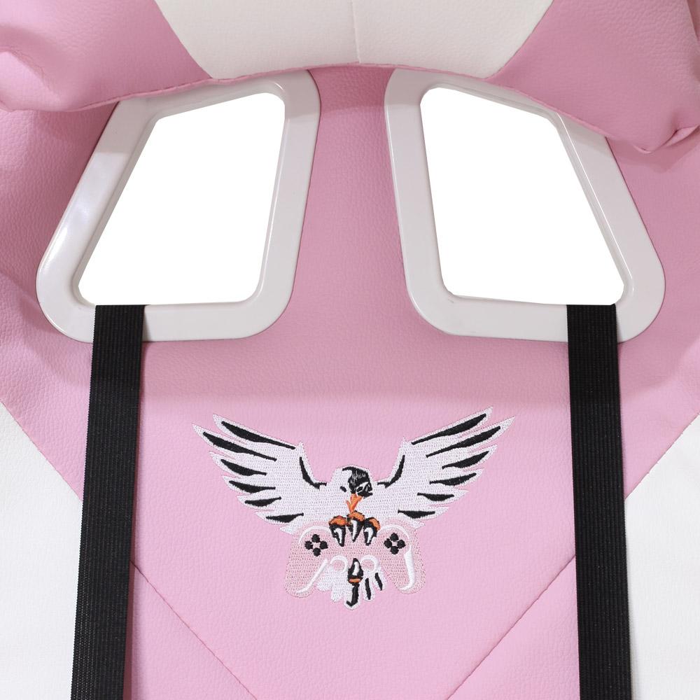 Cadeira Gamer EagleX Pro Giratória com Ajuste de Altura Reclinável e Braços Ajustáveis Rosa Com Branca