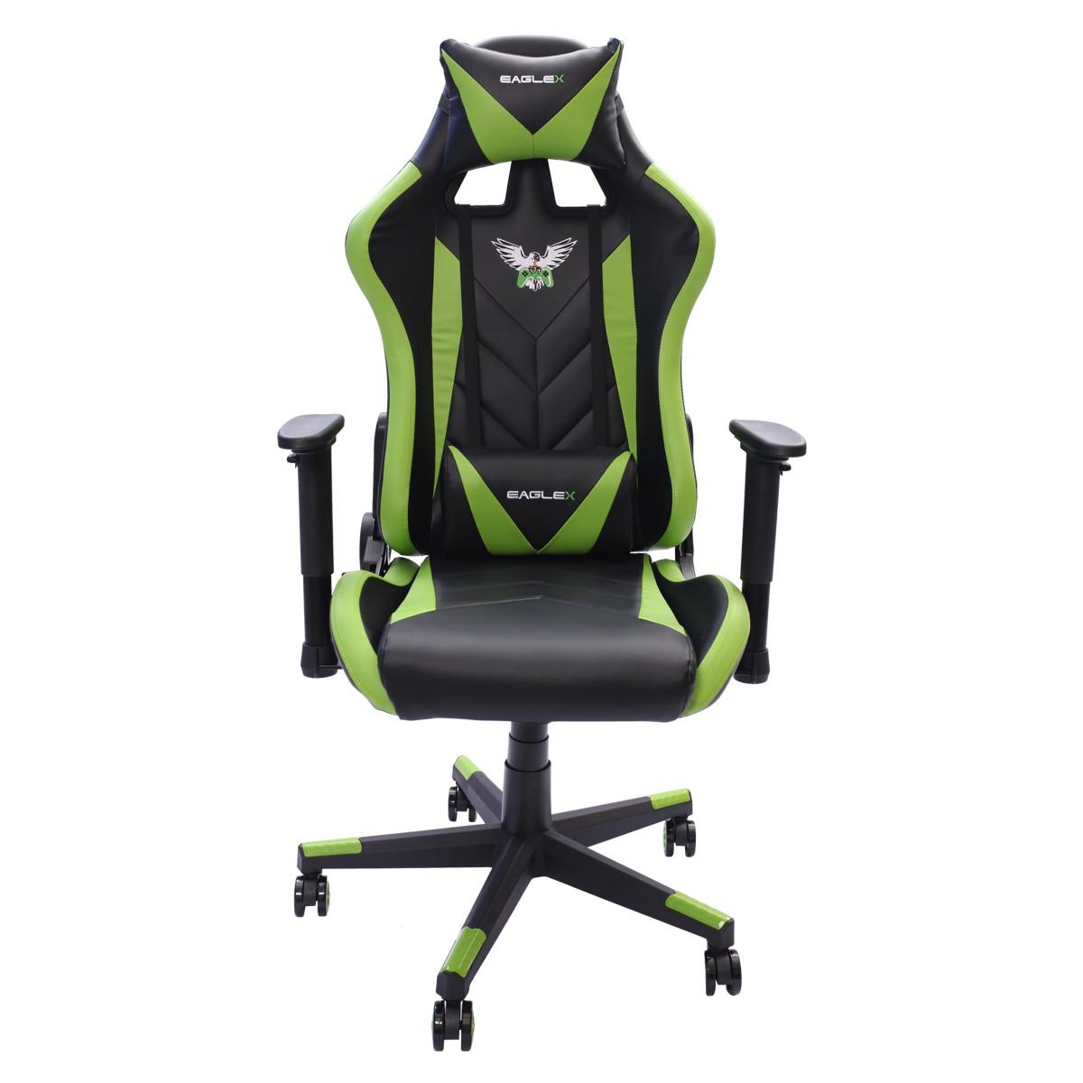 Cadeira Gamer EagleX Pro Giratória com Ajuste de Altura, Reclinável e Braços Ajustáveis Verde
